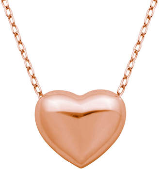 FINE JEWELRY 18K Rose Gold Over Silver Puffed Heart Pendant Necklace