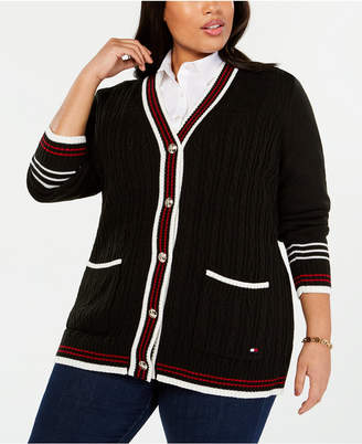 Tommy Hilfiger Plus Size Striped-Trim Cardigan Sweater