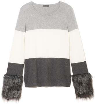Vince Camuto Faux Fur-cuff Sweater