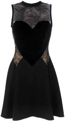 Elie Saab heart motif lace insert dress