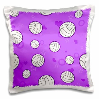 3dRose Purple Volleyball Pattern - Pillow Case, 16 by 16-inch