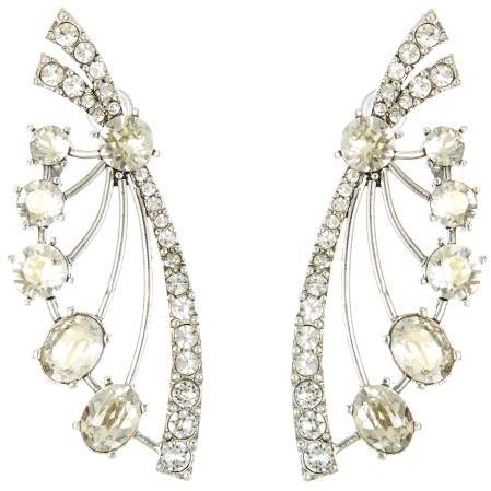 Oscar de la Renta Crystal Fan Earrings