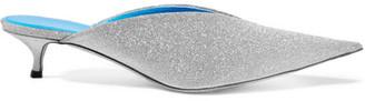 Balenciaga Knife Glittered Leather Mules - Silver