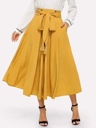 Shein Tassel Bow Tie Waist Pocket Side Pleated Skirt