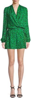 Diane von Furstenberg Leopard-Print Silk Chiffon Long-Sleeve Romper