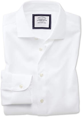 Charles Tyrwhitt Slim Fit Business Casual Non-Iron Modern Textures White Cotton Dress Shirt Single Cuff Size 14.5/33