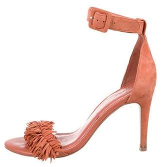 Joie Suede Fringe-Trimmed Sandals