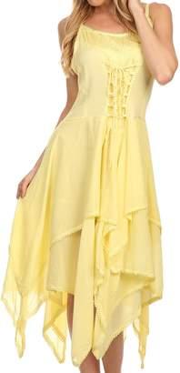 Sakkas 0131 Corset Style Bodice Jaquard Lightweight Handkerchief Hem Dress