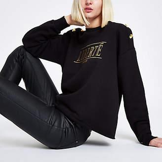 River Island Black 'Liberte' button shoulder sweatshirt