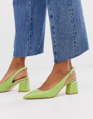 Asos Design DESIGN Saucer slingback pointed heels in snake