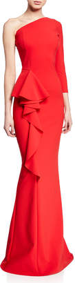 Chiara Boni One-Shoulder Asymmetric Trumpet Gown w/ Side-Ruffle Detail