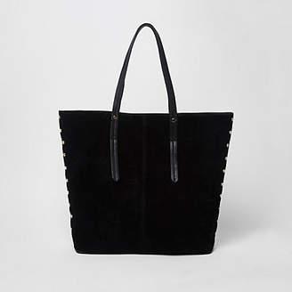 River Island Black studded suede croc tote bag