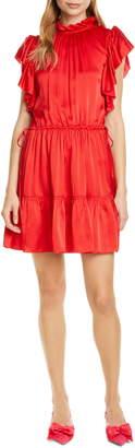 Kate Spade Tiered High Neck Silk Blend Dress