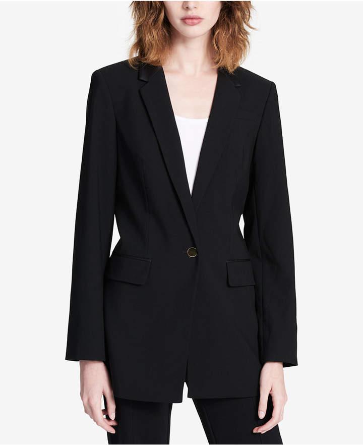 Calvin Klein Faux-Leather-Collar Blazer