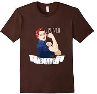 I punch like a girl shirt boxing grrrl tshirt rosie riveter