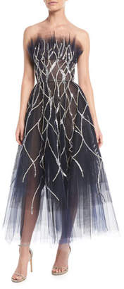 Oscar de la Renta Strapless Crystal-Embellished Tulle Tea-Length Evening Gown