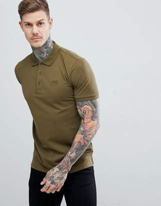 HUGO Donos Logo Polo Shirt in Khaki