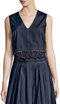 Derek Lam 10 Crosby Sleeveless Lace-Trim Cotton Shell