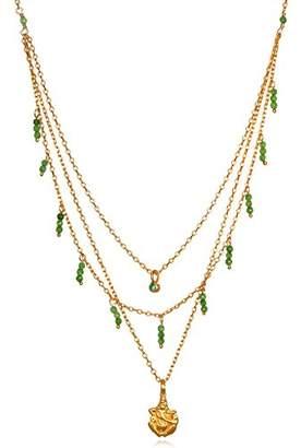 Satya Jewelry Emerald & Jade Gold Plate Ganesha Triple Chain Pendant Necklace