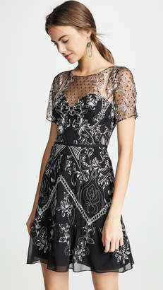 Marchesa Chiffon Dotted Tulle Cocktail Dress