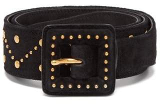 Saint Laurent Studded Suede Belt - Womens - Black