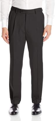Louis Raphael Men's Rosso Pleated Easy Care Solid Dress Pant with Hidden Flex