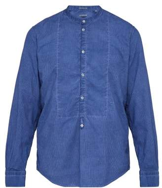 Massimo Alba Grandad Collar Half Button Striped Cotton Shirt - Mens - Blue