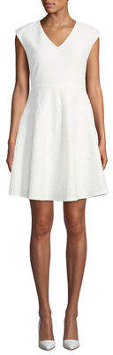 Neiman Marcus Textured Sleeveless V-Neck Fit-&-Flare Dress