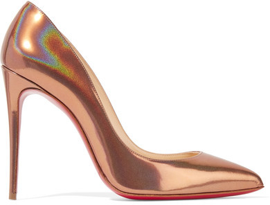 Christian Louboutin - Pigalle Follies 100 Metallic Patent-leather Pumps - Bronze