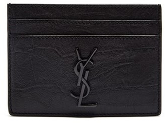 Saint Laurent Monogram Crocodile Effect Leather Cardholder - Mens - Black