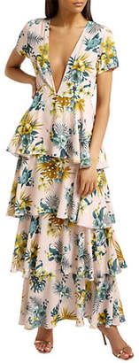 Missguided Chiffon Tropical-Print Tiered Maxi Dress