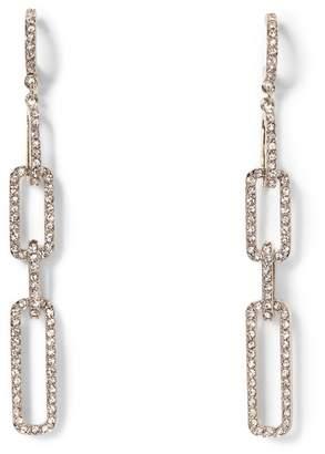 Vince Camuto Silvertone Jeweled Link Drop Earrings