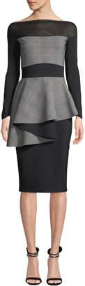 Chiara Boni Ritanna Illusion & Plaid Peplum Dress