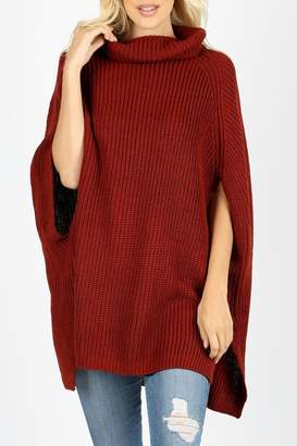 Zenana Outfitters Turtleneck Poncho Sweater