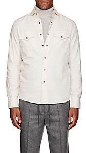 Brunello Cucinelli Men's Western-Style Cotton Twill Shirt - Beige, Tan