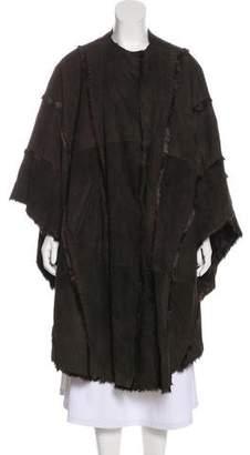 Saint Laurent Leather Fur-Trimmed Poncho