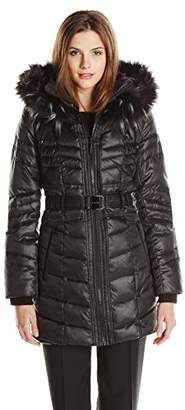 Kensie Women's Matte Satin Belted Down Coat with Faux Fur Hood $79.68 thestylecure.com