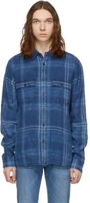 Frame Indigo Linen Double Pocket Shirt