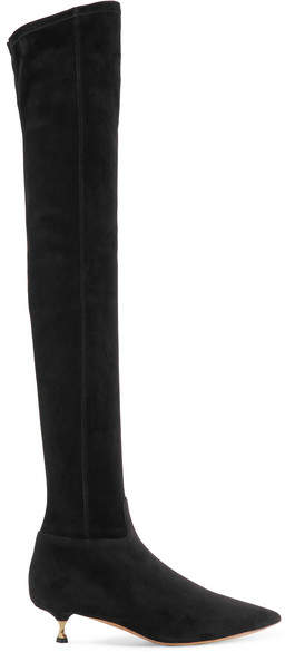 Valentino - Suede Over-the-knee Boots - Black