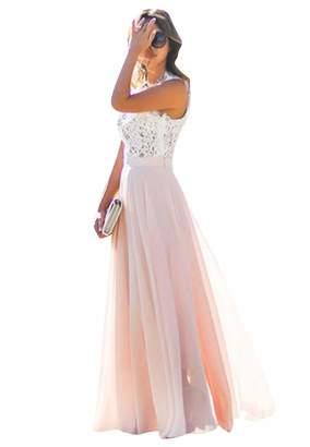 OMZIN Women's Floral Dress Vintage Wedding Bridesmaid Maxi Dress ,M