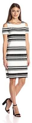 Sandra Darren Women's 1 Pc Cold Shoulder Bodre Knit Printed Striped Shift Dress