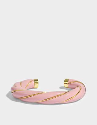 Aurelie Bidermann Diana Twisted Bracelet in Pink 18K Gold-Plated Brass