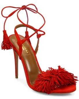 Aquazzura Wild Thing Fringe Suede Sandals $785 thestylecure.com