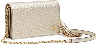 Tory Burch FLEMING METALLIC FLAT WALLET CROSS-BODY