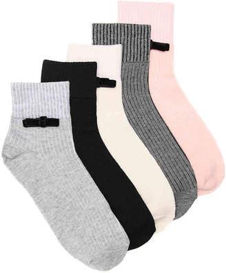 Mix No. 6 Velvet Bow Ankle Socks - 5 Pack - Women's