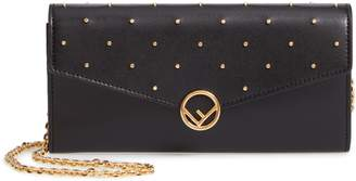 Fendi Studded Calfskin Leather Continental Wallet on a Chain