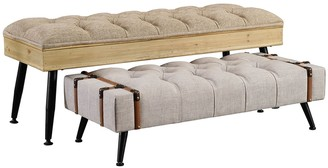 Linon Mara Rustic Nesting Bench 2-piece Set