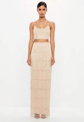 Missguided Nude Fringe Embellished Maxi Skirt