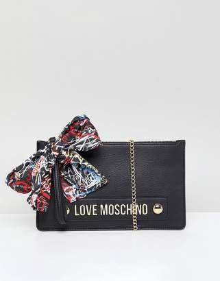 Love Moschino Stud Logo Clutch with Chain Strap