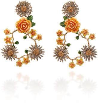 Dolce & Gabbana Floral Crystal Gold-Tone Chandelier Earrings